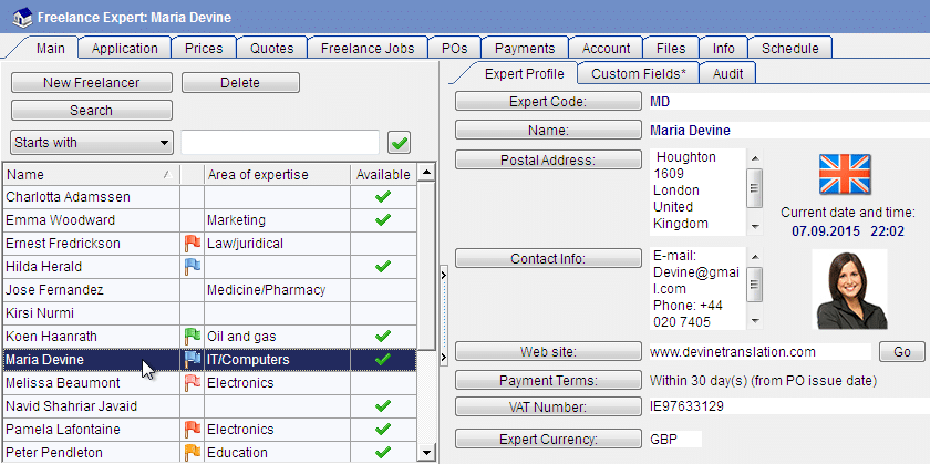 Freelance experts database