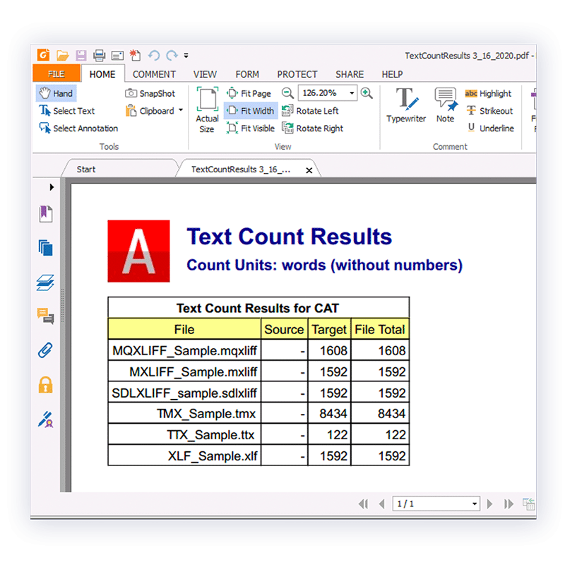 Export word count, character count, and line count results.