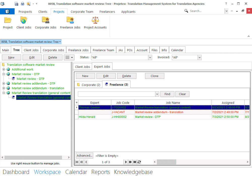 Manage projects in projetex 3d